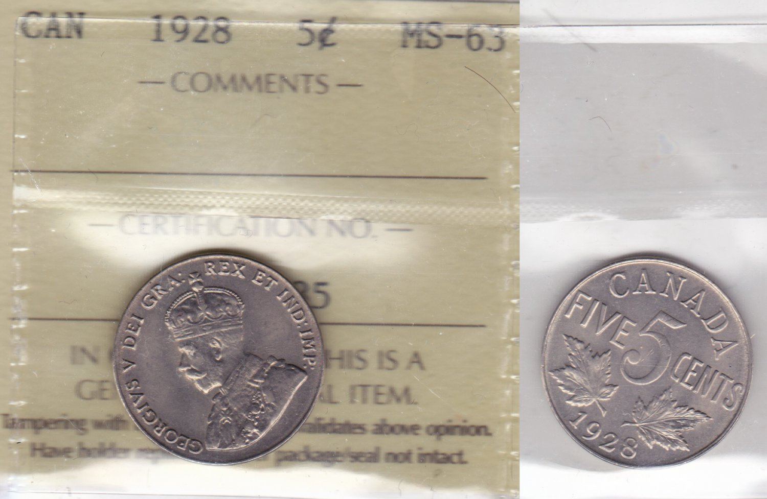 1928 ICCS MS63 5 cents Canada five nickel XJR 985