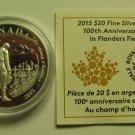 2015 Proof $20 100th Ann Flanders Fields Canada .9999 silver COIN&COA ONLY twenty dollars
