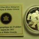 2011 Proof $25 Wayne & Walter Gretzky Canada .9999 silver COIN&COA ONLY twenty-five dollars 99