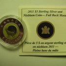 2011 Proof $5 Sky Calendar #1-Full Buck Moon COIN&COA ONLY Canada silver niobium five dollars