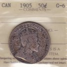 1905 ICCS G6 50 cents Canada fifty half dollar silver XPS 541