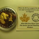 2014 Proof $20 Seven Sacred Teachings #5-Wisdom Beaver COIN&COA ONLY Canada .9999 silver twenty