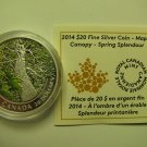 2014 Proof $20 Maple Canopy #3-Spring Splendour COIN&COA Canada .9999 silver twenty