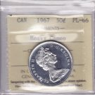 1967 ICCS PL66 50 cents HEAVY CAMEO Howling Wolf Centennial Canada fifty half dollar silver XUY 423