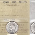 1940 ICCS MS63 10 cents Canada (Double 194?) ten dime silver XDA 137