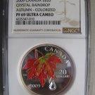 2009 NGC PF69 UC $20 Crystal Raindrop #2-Autumn Showers Canada .9999 silver twenty dollars