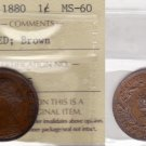 1880 ICCS MS60 1 cent R0 ED (Wide O) Brown Newfoundland NFLD NF one penny large VQ 335