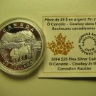 2014 Proof $25 O Canada #4-Cowboy in the Canadian Rockies 1oz .9999 silver COIN&COA ONLY