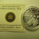 2013 Proof $5 Aboriginal Tradition Hunting #2-Bison COIN&COA ONLY .9999 Silver Canada five dollars