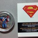 2013 Matte Proof $15 75th Ann Superman Modern Day COIN&COA ONLY .9999 silver Canada fifteen