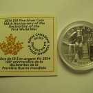 2014 Proof $10 100th Ann Declaration World War I WWI COIN&COA ONLY .9999 silver Canada Mobilisation