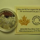 2014 Proof $10 70th Ann D-Day COIN&COA ONLY .9999 silver Canada ten dollars