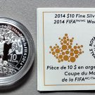 2014 Proof $10 FIFA World Cup Soccer Brazil COIN&COA ONLY .9999 silver Canada ten dollars