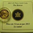 2013 Proof $5 O Canada #1-Beaver .9999 gold 1/10oz COIN&COA ONLY five dollars
