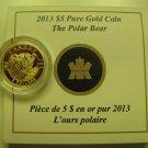2013 Proof $5 O Canada #2-Polar Bear .9999 gold 1/10oz COIN&COA ONLY five dollars