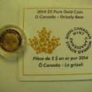 2014 Proof $5 O Canada #1-Grizzly Bear .9999 gold 1/10oz COIN&COA ONLY five dollars