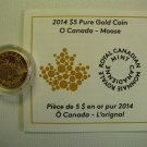 2014 Proof $5 O Canada #2-Moose .9999 gold 1/10oz COIN&COA ONLY five dollars