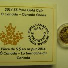 2014 Proof $5 O Canada #3-Goose .9999 gold 1/10oz COIN&COA ONLY five dollars
