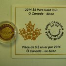 2014 Proof $5 O Canada #4-Bison .9999 gold 1/10oz COIN&COA ONLY five dollars