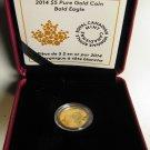 2014 Proof $5 Bald Eagle .9999 Gold five dollars