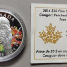 2014 Proof $20 Cougar #2-Perched on a Maple Tree Colour COIN&COA ONLY Canada .9999 silver