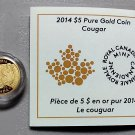 2014 Proof $5 Cougar 1/10oz .9999 Gold COIN&COA ONLY Canada five dollars