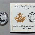 2014 Proof $5 Cougar 1/10oz .9995 Platinum COIN&COA ONLY Canada MINTAGE JUST 687!