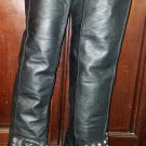Vintage Black Leather Thigh High Crystal Beaded Bow Stiletto Heel Boots 9 9.5