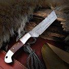 Custom Handmade Damascus Knife with Steel Bolster and Micarta Sheet Handle
