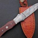 Custom Handmade Damascus Knife Damascus Bolster and Rose Wood