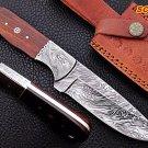 "9"" New Custom made Damascus Knife Damascus Bolster and Rose Wood Handle"