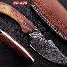 Custom Handmade Damascus steel skinner Knife with Rose Wood Handle