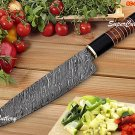 """13"""" Custom Hand forged Damascus Chef Knife with Rose Wood and bull Handle"""