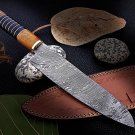 Custom Hand forged Damascus Chef Knife with Rose Wood and bull Handle
