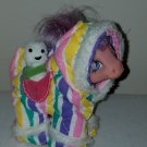 Vintage G 1 My Little Pony MLP - ponywear - Snowsuit w/ snowman pal - FREE TLC Baby MO Pink Ember