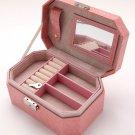 Jewelry Box Organizer PU Leather Double Layers with Mirror jewelry Display Holder