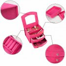 girl Cosmetic box organizer casket mirror 4 color jewelry box purple, rose-red, pink, red optional