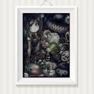Anime Gothic girl art cross stitch pattern in pdf