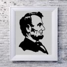 Abraham Lincoln face silhouette cross stitch pattern in pdf