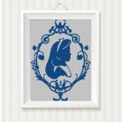 Alice in Wonderland cameo silhouette cross stitch pattern in pdf