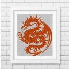 Art Dragon silhouette cross stitch pattern in pdf
