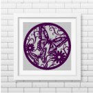 Butterfly and flower cameo silhouette cross stitch pattern in pdf
