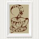 Cappuccino silhouette cross stitch pattern in pdf