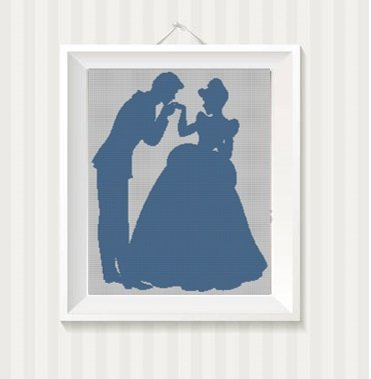 Cinderella and the Prince - Disney Lovers silhouette cross stitch pattern in pdf