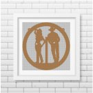 Cowboy and cowgirl silhouette cross stitch pattern in pdf