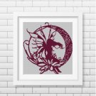 Fairy Moon silhouette cross stitch pattern