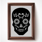 Flower sugar skull silhouette cross stitch pattern