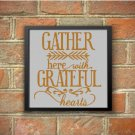'Gather here with grateful hearts' text silhouette cross stitch pattern