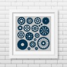 Gears silhouette cross stitch pattern
