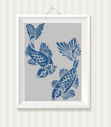 Japanese fishes silhouette cross stitch pattern in pdf